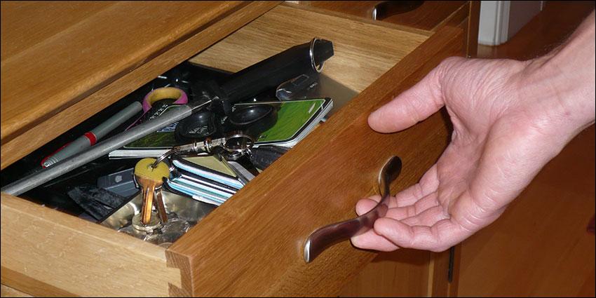 Man's junk drawer