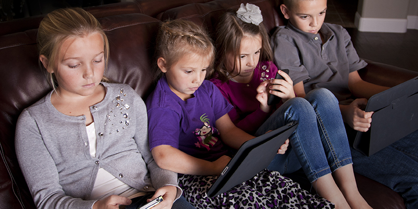 Children with screens