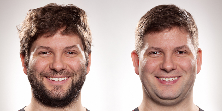 Before and after beard photos